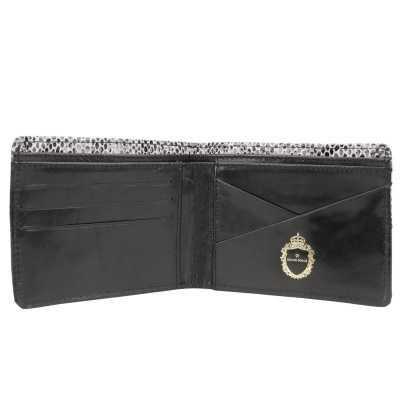 White Black Snake Print Embossed Designer Mens Leather Wallet