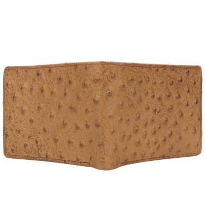 Tan Ostrich Pattern Embossed Designer Mens Leather Wallet
