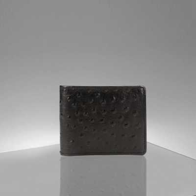 Black Ostrich Pattern Embossed Designer Mens Leather Wallet