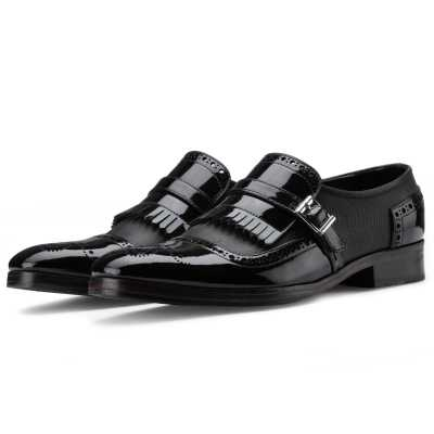 The Marco Dual Textured Kiltie Monkstrap in Black