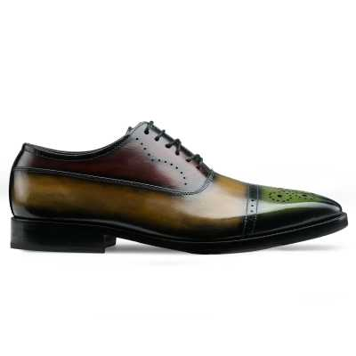 Marvin Medallion Captoe Oxfords Olive