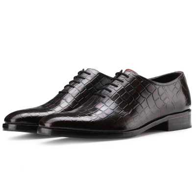 The Ferdinand Croc Textured Wholecut Oxford in Wine