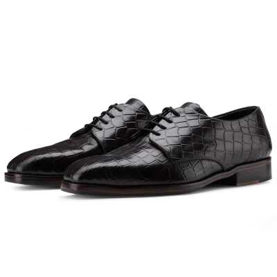 The Jacque Croc Embossed Derby in Wine