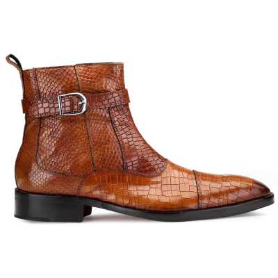 Noble Ankle Boots with Zipper in Cognac