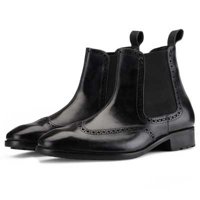 Regal Wingtip Chelsea Boots in Black