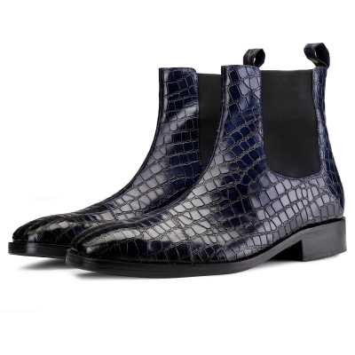 Regal Croco Chelsea Boots in Blue