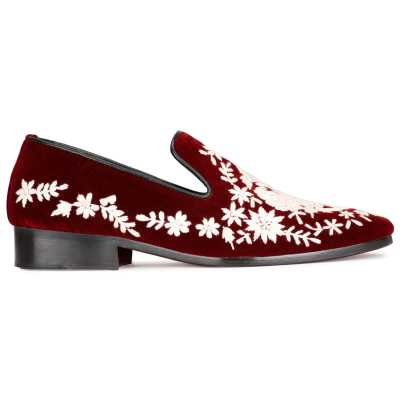Embroidered Wedding Shoes Maroon