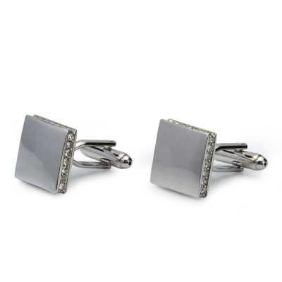 Men's Silver Plated Crystals Cufflinks
