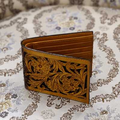 The Dhruva Hand-Tooled Leather Bi-Fold Wallet