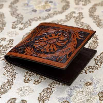 The Fiore Hand-Tooled Leather Bi-Fold Wallet