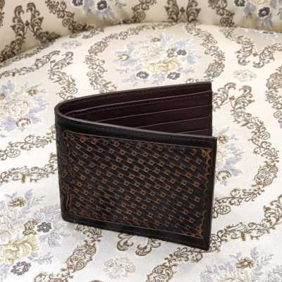 The DeepGrid Hand-Tooled Leather Bi-Fold Wallet