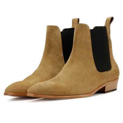 Iceman Chelsea Boots in Beige Suede