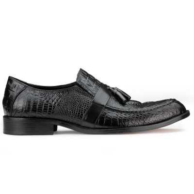 Black Croc-Textured Tassel Loafers