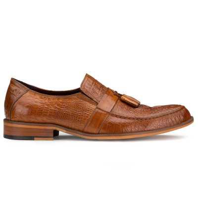 Tan Croc-Textured Tassel Loafers