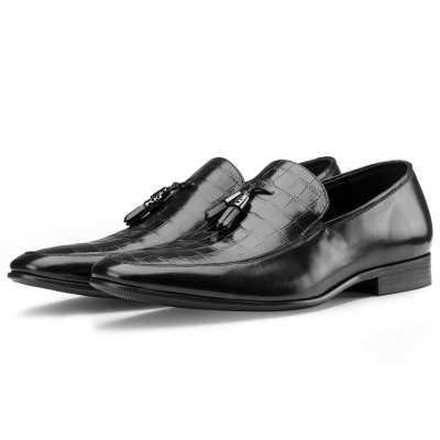 Black Croc-Embossed Tassel Loafers