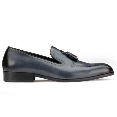 Slate-Blue Bit Tassel Loafers