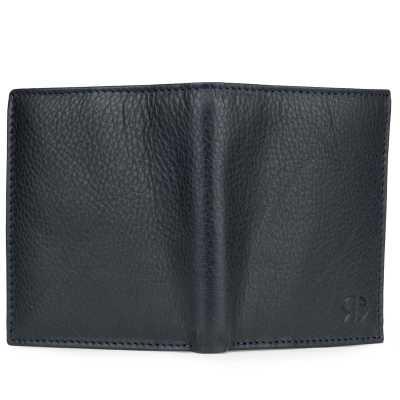 Dark Blue Textured Soft-Leather Mens Wallet