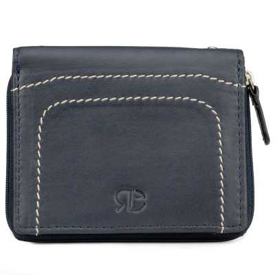 Blue Plain Leather Mens Wallet Cum Card Holder with Zip Closure