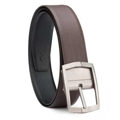 Black and Brown Cross Linner Design Leather Men's Formal Belts