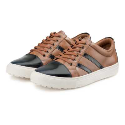 Tan-Black Leather Low-Top Sneakers With Striped Webbing