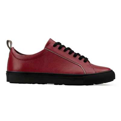Red-Black Low-Top Leather Sneakers