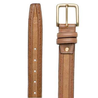 Brown Suede-Leather Brogue belt