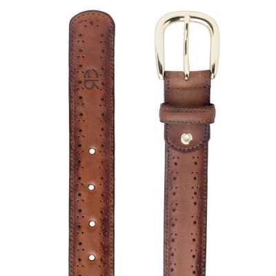 Dark Brown burnished Brogue Leather Belt