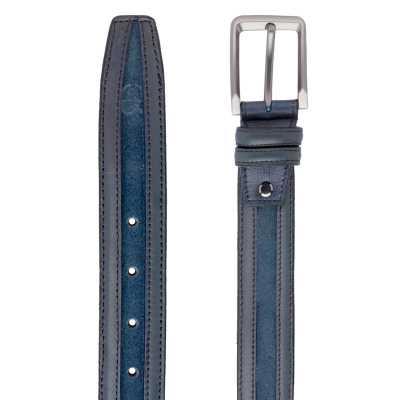 Blue Suede-Leather Belt