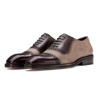 Carlo Medallion Captoe Dual-Pattern Brown Oxford