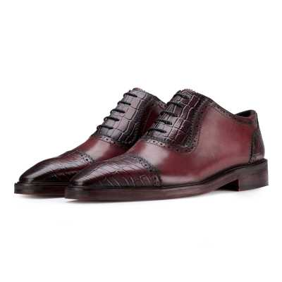 Hagen Croc CapToe Wine Oxford