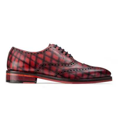Corleone Handpainted Check Burgundy Brogues