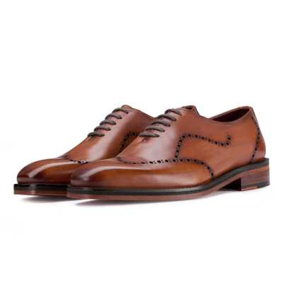 Michael Wholecut Dark Tan Wingtip Oxford