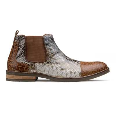 Serpent Snake and Crocodile Foiled Chelsea Boots