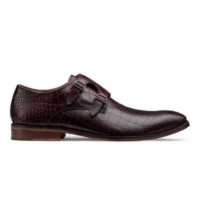 Enzo Croc Textured Dark-Cherry Double Monkstrap