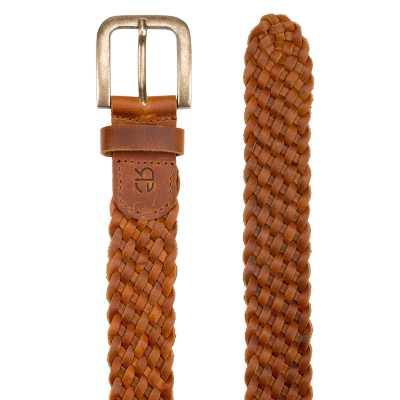 Tan Fine-Braided Woven Leather Belt