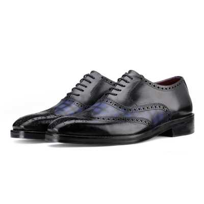 Amato Handpainted Black & Blue Check Brogues