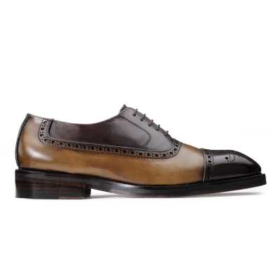Tony Medallion Captoe Brown Tan Oxfords