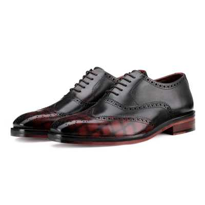 Ralph Handpainted Check Black & Burgundy Brogues