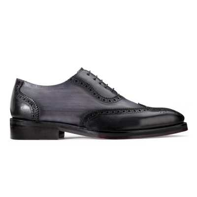 Carlo Handpainted Burnished Wingtip Black Brogues