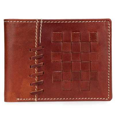 Brown Basket Weave Design Leather Mens Wallet