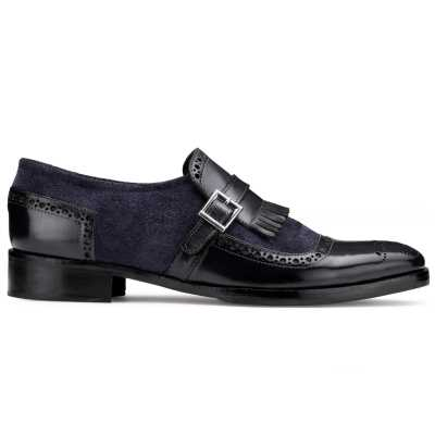 The Marco Dual Textured Kiltie Monkstrap in Blue