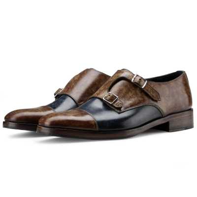 The Pizzaro Designer Double Monk in Blue Tan