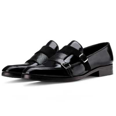 The Erikson Double Monk Designer Slip On in Black