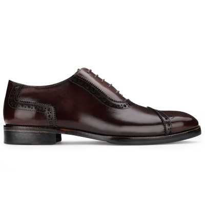 The Livingstone Medallion Toe Oxford in Dark Brown