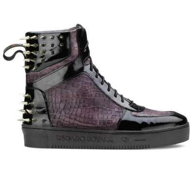 Monarcho Hightop Stud Sneakers In Black Purple - Escaro Royale