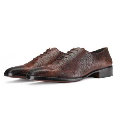 Bastion Goodyear Welted Fiddleback Wholecut Oxford in Patina Scales Brown