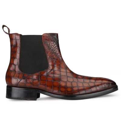 Regal Chelsea Boots in Large Croc Tan