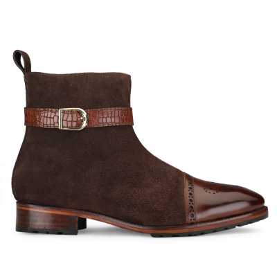 Citadel Zipper Boots in Brown Suede