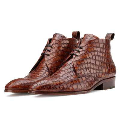 Optimus Chukka Boots in Patina Croco Cognac