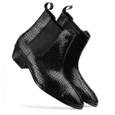 Maverick Chelsea Boots in Black Croc with Cuba Heel